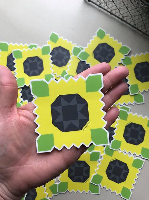Sunflower Farms Quilt Block Sticker