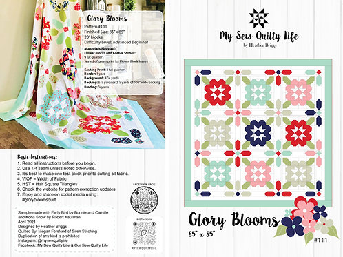Glory Blooms Quilt Paper Pattern