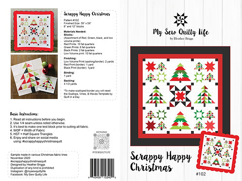Scrappy Happy Christmas Quilt Paper Pattern
