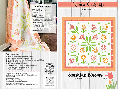 Sunshine Blooms Quilt PDF Pattern