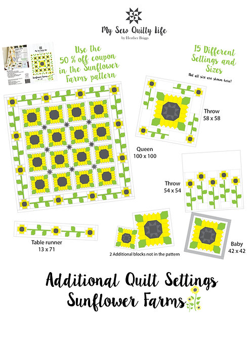 Additional Quilt Settings PDF for the Sunflower Farms Quilt Pattern