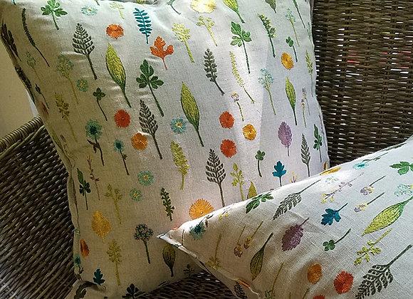 Embroidered Linen Garden Pillow