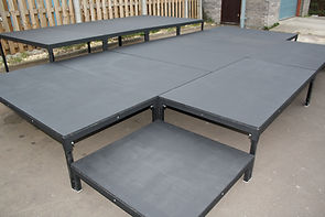 Bespoke staging system hire, raked seating hire, stage hire