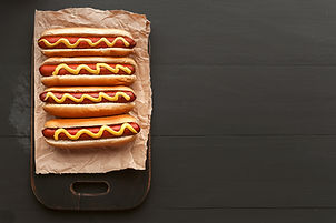 Barbecue Grilled Hot Dogs with  yellow A