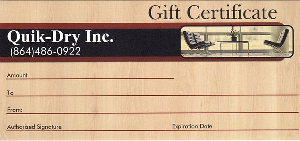 Carpet Cleaning Gift Certificate