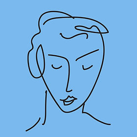 Abstract line-drawing of woman's face, eyes gently closed and at peace