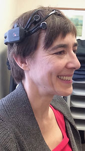 Antonia Gooder hypnotherapist having EEG reading taken.