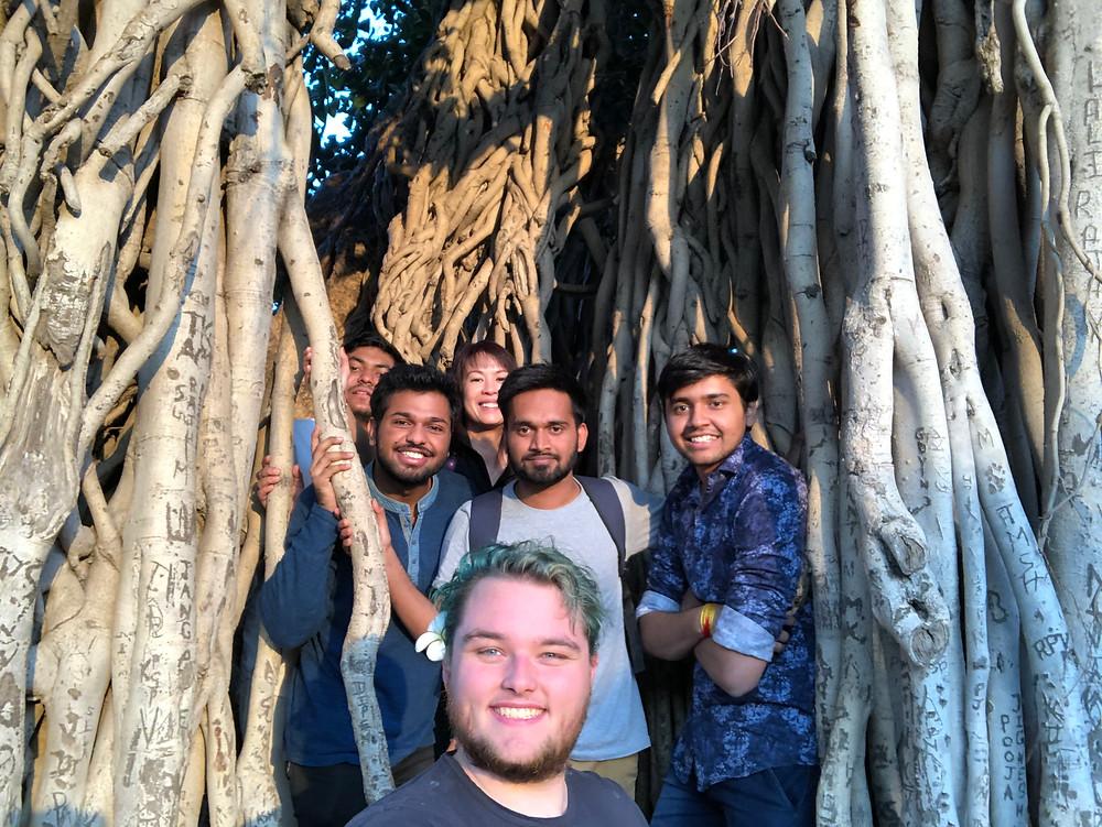 Jake (front) with India Ki Khoj student hosts.