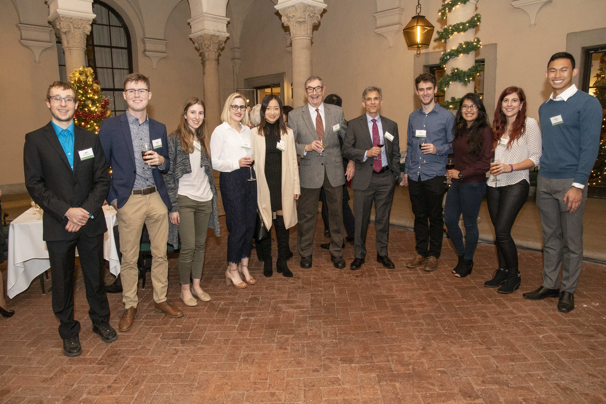 Professors Harry Gray and Jonas Peters with students involved with the Caltech Y