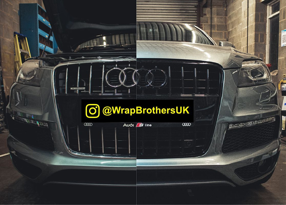 Audi Q7 front grille gloss black dechrome. Left side before, right side - after.