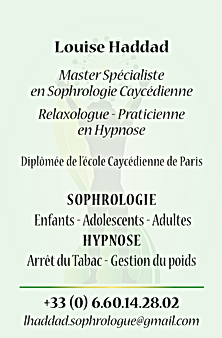Louise HADDAD, Sophrologue, Relaxologue, Praticiennne en Hypnose