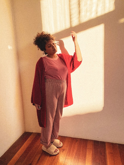 Pantalona Lunar - xadrezinho vermelho