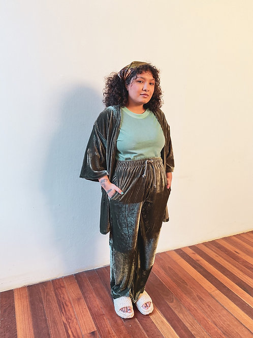 Pantalona Lunar - veludo musgo
