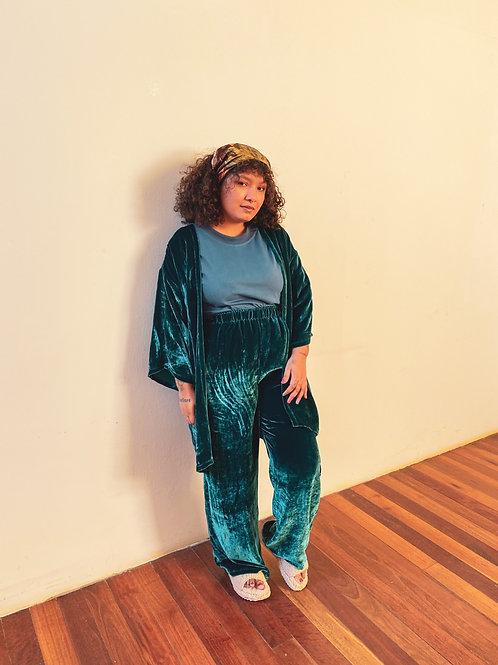 Pantalona Lunar - veludo petróleo