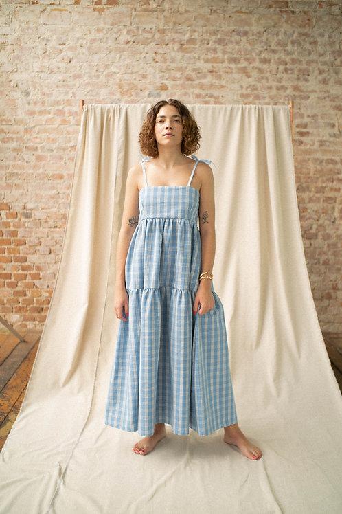 Vestido Petúnia - xadrez azul