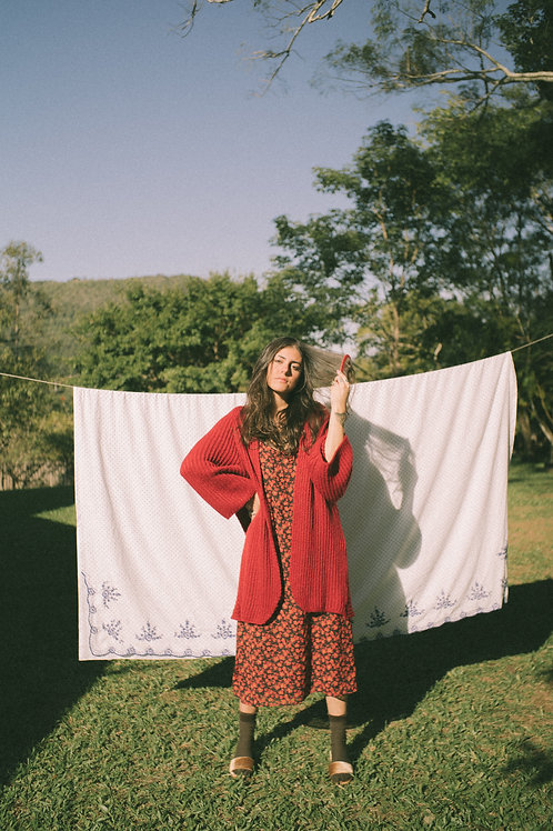 Kimono Tricot Olga - cor tomate