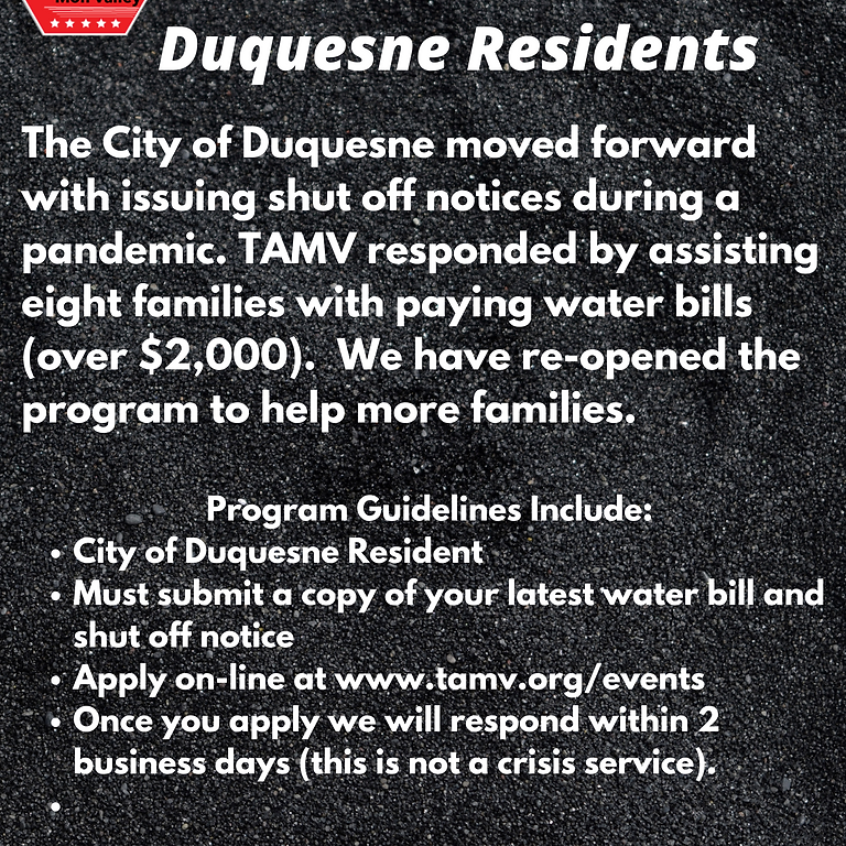 Duquesne Residents Water Assistance