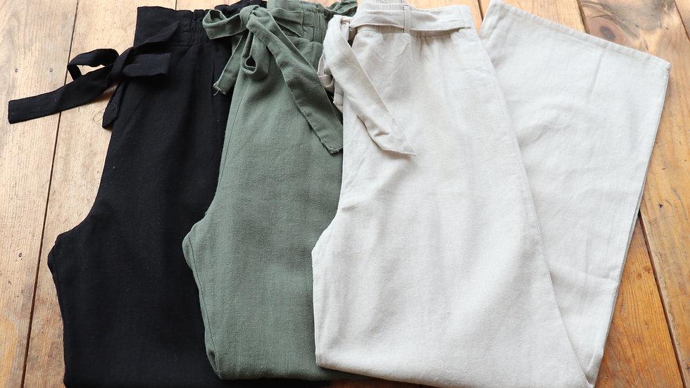 Tie Waist Ankle Linen Pants