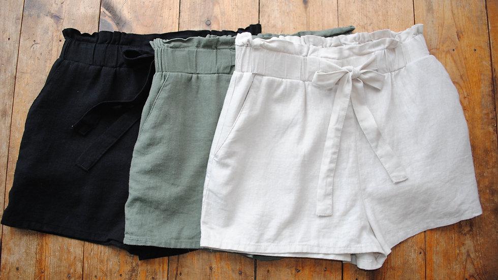 Tie Waist Linen Shorts