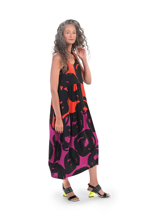 ALEMBIKA TANGERINE VIA PRINT TANK DRESS