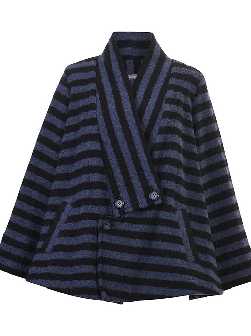 ALEMBIKA NAVY BLUE STRIPE SHORT WINTER JACKET