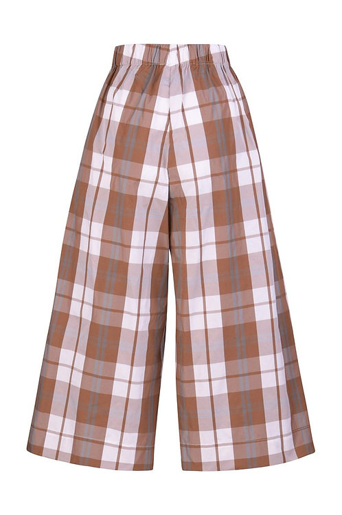 ALEMBIKA PLAID BUTTON CROPPED PANTS