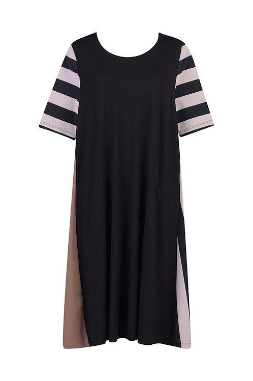 TEKBIKA BLACK, WHITE, TAUPE MILLENNIAL DRESS