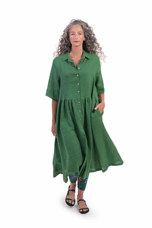 ALEMBIKA GREEN BUTTON DOWN DRESS