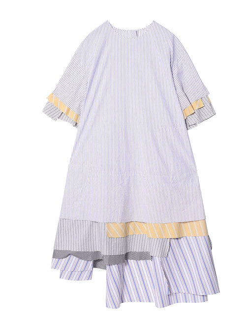 JNBY STRIPES WHITE BLUE PEACH SEA SHELL DRESS