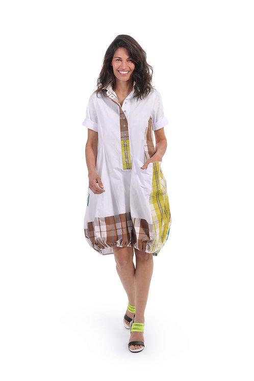 ALEMBIKA WHITE MULTI PLAID WONDERFUL DRESS