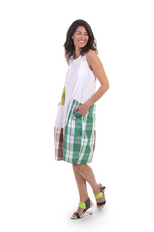 ALEMBIKA WHITE MULTI PLAID TANK DRESS