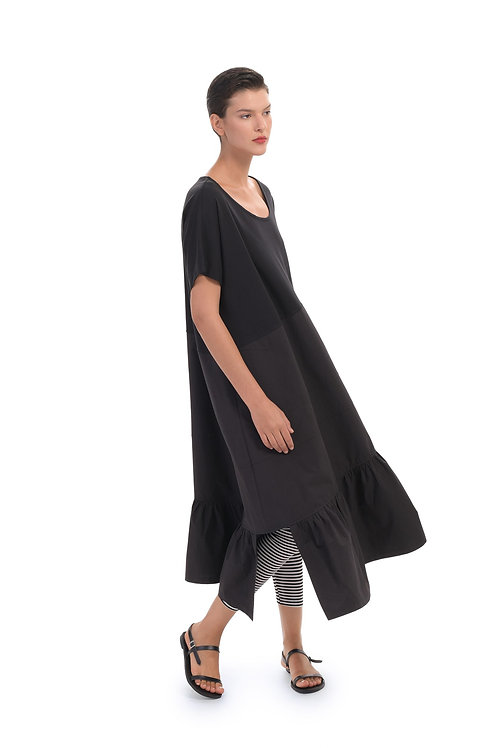 ALEMBIKA BLACK SHORT SLEEVE MAXI DRESS