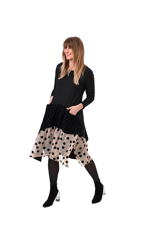 ALEMBIKA BLACK TAN POLKA DOT FLORAL LONG SLEEVE POCKET DRESS