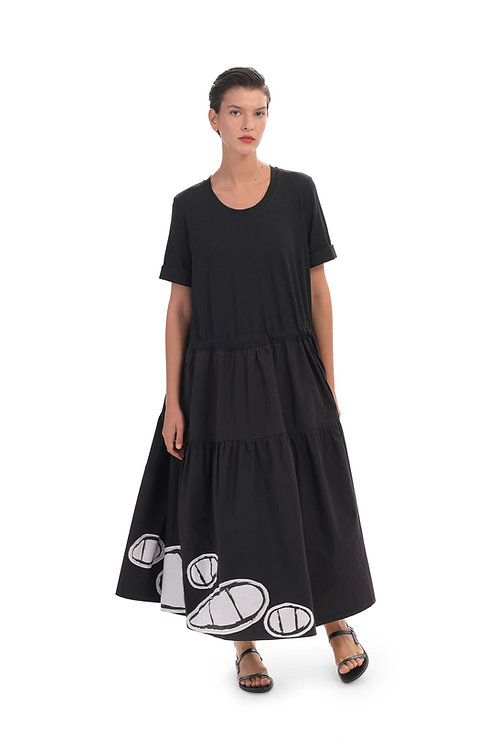 ALEMBIKA CAPSULE BLACK WHITE BOTTOM MAXI DRESS