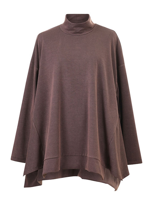 ALEMBIKA BROWN HIGH NECK LONG SLEEVE TOP