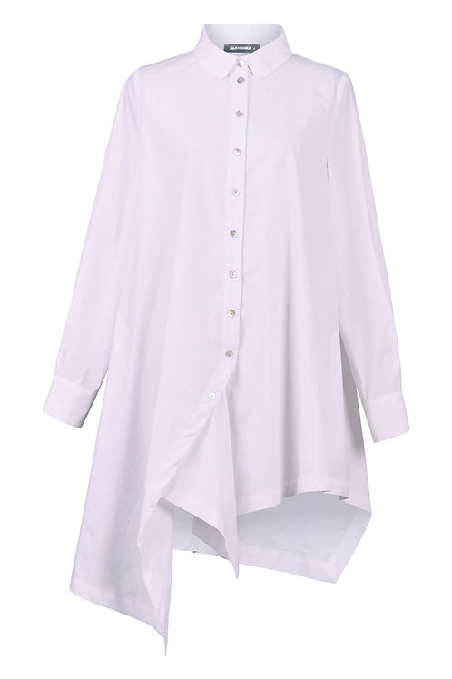 ALEMBIKA WHITE LONG SLEEVE COLLARD TUNIC STYLE BLOUSE