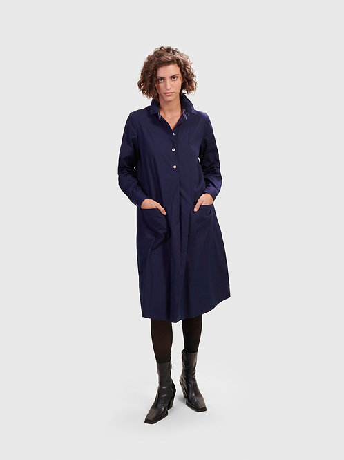 ALEMBIKA NAVY COLLARD LONG SLEEVE DRESS