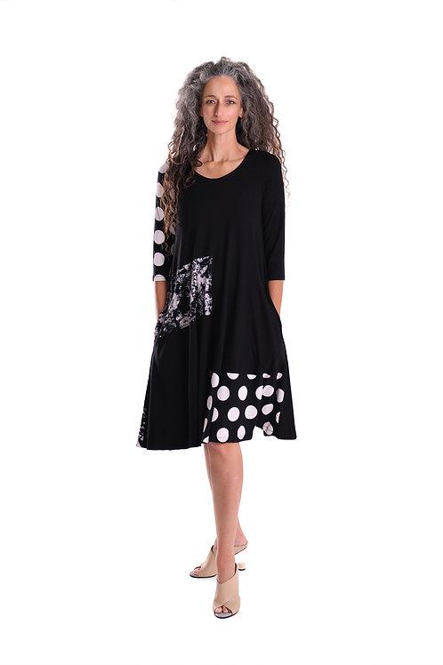 ALEMBIKA BLACK WHITE MIX MEDIA POCKET DRESS