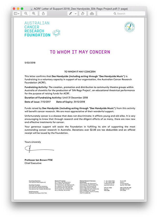 Confirmation letter from the Australian Cancer Research Foundation regarding 'The Silk Rags Project' through 'Dee Handyside Music'.