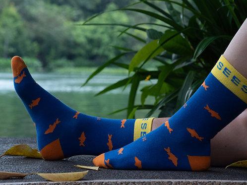 orange socks women fishing