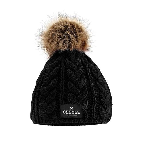 Čierna fleece čiapka MONI