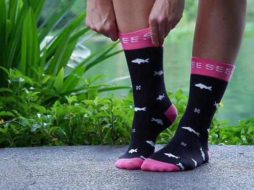 Ružové ponožky so vzorom