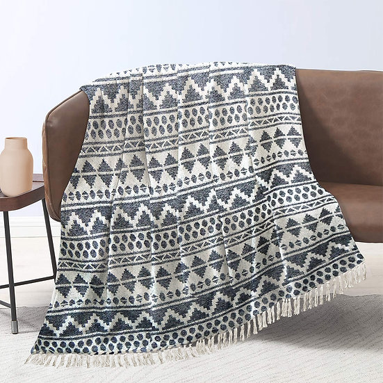 """Boho Throw Blanket with Fringe 50"""" x 60"""" for Couch Sofa Bed"""