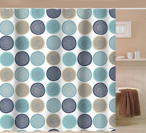Abstract Tree Rings Woody Fabric Shower Curtain