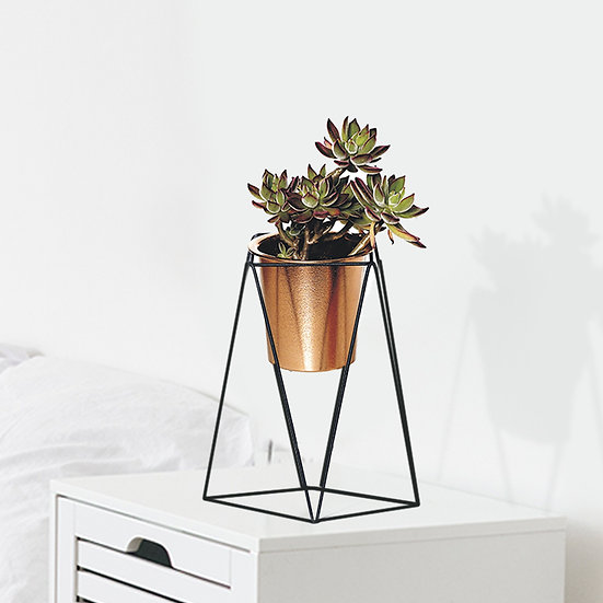 Mini Iron Tabletop Plant Stands with Golden Bronze Pots Set of 2