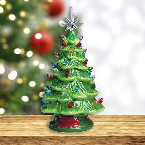 Cordless Lighted Ceramic Christmas Tree Vintage Tabletop Decoration