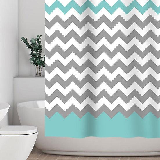 Zigzag Gray/Aruba Chevron Fabric Shower Curtain