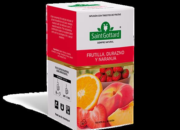 Frutilla, durazno y naranja