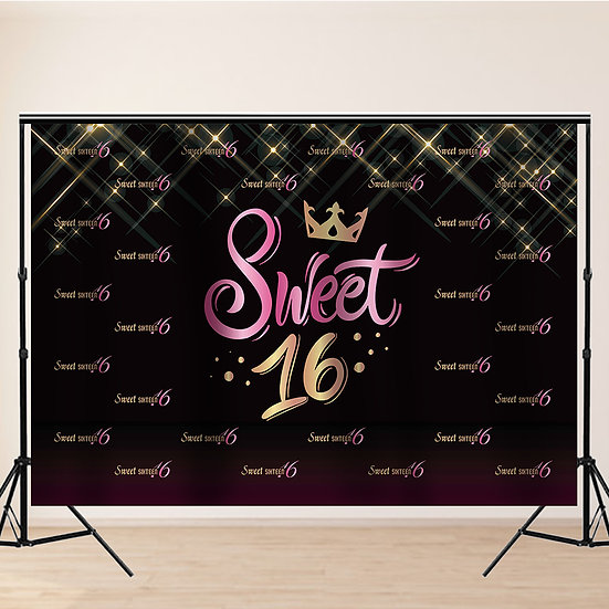 Sweet Sixteen 16 Photo Backdrop 7x5 ft, Girl's 16th Birthday Party Decoration