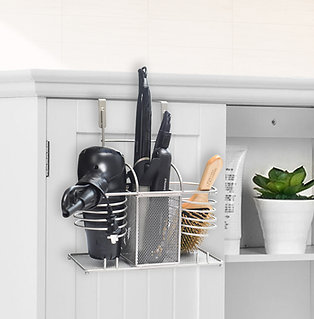 3 in 1 Metal Wire Hair Dryer & Styling Tool Organizer Storage Basket Holder